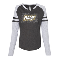RHINESTONE LAT Ladies Gameday Mash-Up Long Sleeve Fine Jersey T-Shirt