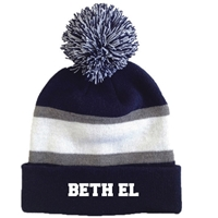BETH EL STRIPED BEANIE WITH POM
