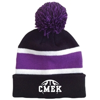CMEK BASKETBALL STRIPED BEANIE WITH POM
