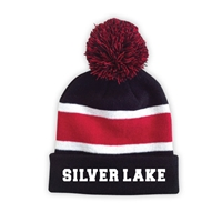 SILVER LAKE STRIPED BEANIE WITH POM