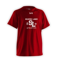 SILVER LAKE UNDER ARMOUR RED ATHLETIC LOGO TEE
