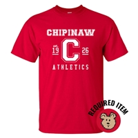 CHIPINAW RED ATHLETIC LOGO TEE
