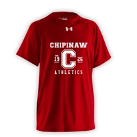 CHIPINAW UNDER ARMOUR RED ATHLETIC LOGO TEE