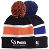 6 POINTS STRIPED BEANIE WITH POM