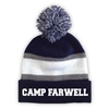 CAMP FARWELL STRIPED BEANIE WITH POM
