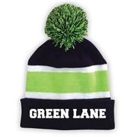 GREEN LANE STRIPED BEANIE WITH POM