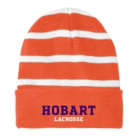 HOBART LAX SPORT-TEK STRIPED BEANIE W/ SOLID BAND