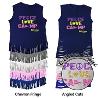 JCC CAMPS <u><b>At Medford</b></u> PEACE, LOVE, CAMP FRINGE CUT TEE BY LUXEBASH