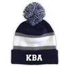 KELLMAN BROWN STRIPED BEANIE WITH POM