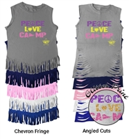 LIBERTY LAKE PEACE, LOVE, CAMP FRINGE CUT TEE BY LUXEBASH