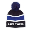 LAKE OWEGO STRIPED BEANIE WITH POM