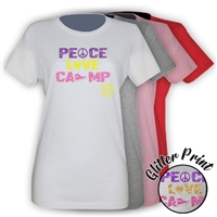 LAURELWOOD PEACE, LOVE, CAMP GIRLS FITTED TEE