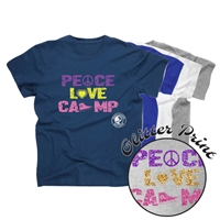 PIERCE COUNTRY DAY CAMP PEACE, LOVE, CAMP COTTON TEE BY LUXEBASH