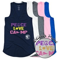 PIERCE COUNTRY DAY CAMP PEACE, LOVE, CAMP AT EASE TANK BY LUXEBASH