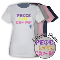 PIERCE COUNTRY DAY CAMP PEACE, LOVE, CAMP GIRLS FITTED TEE BY LUXEBASH