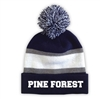 PINE FOREST STRIPED BEANIE WITH POM