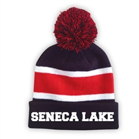 SENECA LAKE STRIPED BEANIE WITH POM