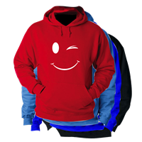 SMILEY WINK HOODED SWEATSHIRT