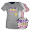 TALL PINES PEACE, LOVE, CAMP GIRLS FITTED TEE BY LUXEBASH