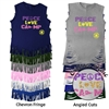 TALL PINES PEACE, LOVE, CAMP FRINGE CUT TEE BY LUXEBASH
