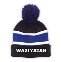 WAZIYATAH STRIPED BEANIE WITH POM