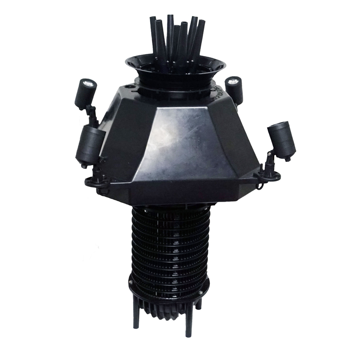 Aqua Premiere Floating Fountain with 19-inch Black Float, (6) Spray Pattern Nozzles, 1 HP Pump with 100' Cord and (4) 9-Watt Color Changing Light Kit with Remote - APF1HP-4X9-100