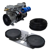 "Pro Aeration, Deep Water System for Ponds and Lakes - (1) 1/2HP, 3.9 CFM Rocking Piston Compressor, 100' of 3/8"" Weighted Tubing, (1) Double-10"" EPDM Self-Sinking Diffuser Disc Assembly - APRPS1"