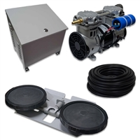 "Air Pro System with 3.9 CFM Rocking Piston Compressor with Ground Cabinet, Cooling Fan, 100' of 3/8"" Weighted Tubing Double-10"" EPDM Diffuser - APRPS1-CAB"