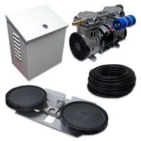 "Air Pro System with 3.9 CFM Rocking Piston Compressor with Post Cabinet, Cooling Fan, 100' of 3/8"" Weighted Tubing Double-10"" EPDM Diffuser - APRPS1-WPM"