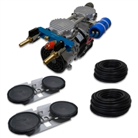 "Pro Aeration, Deep Water System for Ponds and Lakes - (1) 1/2HP, 3.9 CFM Rocking Piston Compressor, 200' of 3/8"" Weighted Tubing, (2) Double-10"" EPDM Self-Sinking Diffuser Disc Assemblies - APRPS2"
