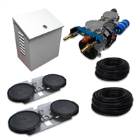 "Air Pro System with 3.9 CFM Rocking Piston Compressor with Post Cabinet, Cooling Fan, 200' of 3/8"" Weighted Tubing (2) Double-10"" EPDM Diffusers - APRPS2-WPM"