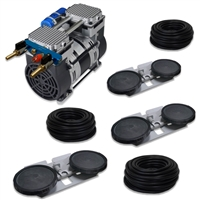 "Pro Aeration, Deep Water System for Ponds and Lakes - (1) 1HP, 6.7 CFM Rocking Piston Compressor, 300' of 3/8"" Weighted Tubing, (3) Double-10"" EPDM Self-Sinking Diffuser Disc Assemblies - APRPS3"
