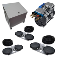 "Air Pro System with 6.7 CFM Rocking Piston Compressor with Ground Cabinet, Cooling Fan, 300' of 5/8"" Weighted Tubing (3) Double-10"" EPDM Diffusers - APRPS3-CAB"