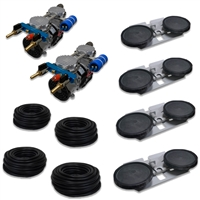 "APRPS4 - Half Off Ponds Pro Deep Water Subsurface Aeration System with (2) 3.9 CFM Rocking Piston Compressor, 400' of 3/8"" Weighted Black Vinyl Tubing & (4) Double-10"" EPDM Self-Sinking Diffuser Disc Assemblies"
