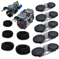 "APRPS5 - Half Off Ponds Pro Deep Water Subsurface Aeration System with (1) 3.9 CFM Rocking Piston Compressor, (1) 6.7 CFM Rocking Piston Compressor, 500' of 3/8"" Weighted Black Vinyl Tubing & (5) Double-10"" EPDM Self-Sinking Diffuser Disc Assemblies"
