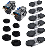 "APRPS6 - Half Off Ponds Pro Deep Water Subsurface Aeration System with (2) 6.7 CFM Rocking Piston Compressor, 600' of 3/8"" Weighted Black Vinyl Tubing & (6) Double-10"" EPDM Self-Sinking Diffuser Disc Assemblies"