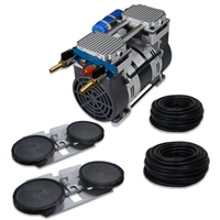 "Pro Aeration, Deep Water System for Ponds and Lakes - (1) 1HP, 6.7 CFM Rocking Piston Compressor, 200' of 3/8"" Weighted Tubing, (2) Double-10"" EPDM Self-Sinking Diffuser Disc Assemblies - APXLRPS2"