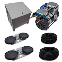 "Air Pro System with 6.7 CFM Rocking Piston Compressor with Ground Cabinet, Cooling Fan, 200' of 5/8"" Weighted Tubing (2) Double-10"" EPDM Diffusers - APXLRPS2-CAB"