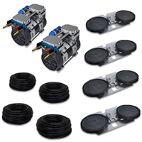 "Pro Aeration, Deep Water System for Ponds and Lakes - (2) 1HP, 6.7 CFM Rocking Piston Compressor, 400' of 3/8"" Weighted Tubing, (4) Double-10"" EPDM Self-Sinking Diffuser Disc Assemblies - APXLRPS4"