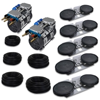 "Pro Aeration, Deep Water System for Ponds and Lakes - (2) 1HP, 6.7 CFM Rocking Piston Compressor, 500' of 3/8"" Weighted Tubing, (5) Double-10"" EPDM Self-Sinking Diffuser Disc Assemblies - APXLRPS5"