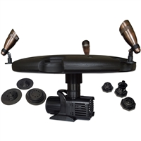 "Aqua Marine Floating Fountain with 36"" Float, (6) Interchangeable Nozzles for 8 Unique Spray Patterns, 1.2 HP Pump with 200' Cord and (3) 9-Watt Color Changing Light Kit with Remote - AQF125003X9-200"