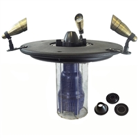 "Half Off Ponds - AQF150003X3-200 - Aquamarine Floating Fountain with 36"" Float, 1/2 HP Pump with 200' Cord and (3) 3-Watt Color Changing Light Kit with Remote"