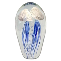 "JF-L6-BW2 - Large 6"" Glass Double Blue with White Top Jellyfish Paperweight"
