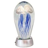 "JF-L6-BW2-WHT - Large 6"" Glass Jellyfish Paperweight with White LED Light Stand Base"