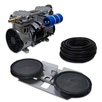 "PARP-60KDD1 - Pro 3.9 CFM Aeration Complete Kit with 100' of 3/8"" Weighted Black Vinyl Tubing & Double-10"" EPDM Self-Sinking Diffuser Disc Assembly"