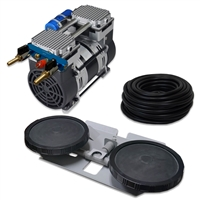 "Pro Aeration, Deep Water System for Ponds and Lakes - (1) 1HP, 6.7 CFM Air Compressor, 100 ' of 3/8"" Weighted Tubing, (1) Double-10"" EPDM Rubber Diffuser Disc Assembly - PARP-80KDD1"