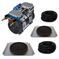 "Pro Aeration, Deep Water System for Ponds and Lakes - (1) 1HP, 6.7 CFM Air Compressor, (2) Single-10"" EPDM Rubber Diffuser Disc Assemblies - PARP-80KSD2"