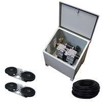 Savio2 Aeration System 2 (Includes Ground Enclosure) with 1/2HP Air Pump , Double Diffusers (x2), 100' Weighted Tubing (x2)