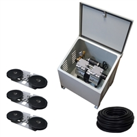 Savio2 Aeration System 3 (Includes Ground Enclosure) with 1HP Air Pump , Double Diffusers (x3), 100' Weighted Tubing (x3)