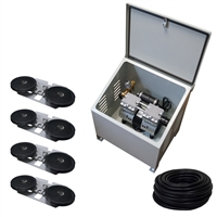 Savio2 Aeration System 4 (Includes Ground Enclosure) with 1HP Air Pump , Double Diffusers (x4), 100' Weighted Tubing (x4)